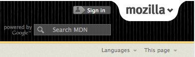 Screenshot: MDN login button