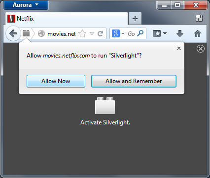 Screenshot of the silverlight plugin activation on the Netflix website.