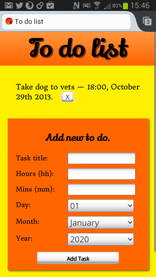 A screenshot of the sample app. A red main title saying To do app, a test to-do item, and a red form for users to enter new tasks