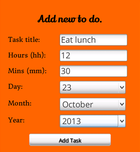 The form of the to-do app, containing fields to fill in a task title, and minute, hour, day, month and year values for the deadline.