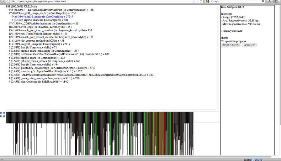 A built-in Gecko profiler windows showing a lot of network information.