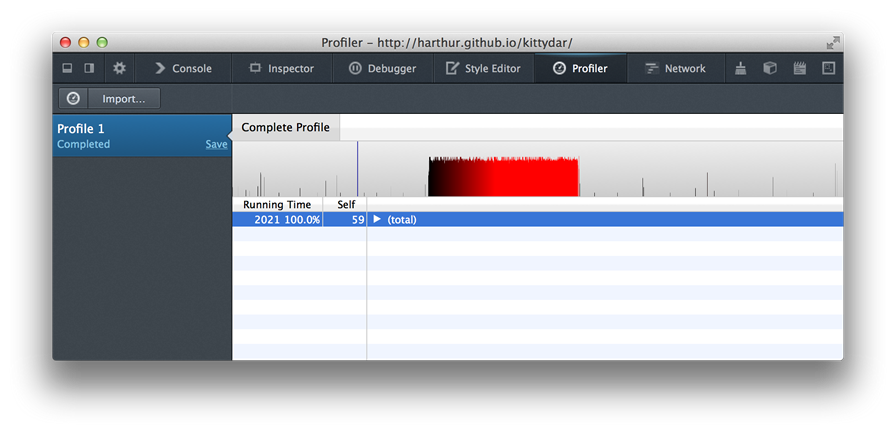 The Firefox JavaScript profiler showing a completed profile 1.