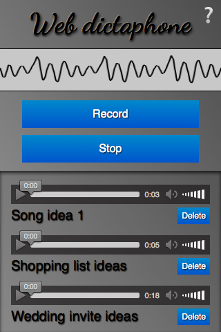 An image of the Web dictaphone sample app - a sine wave sound visualization, then record and stop buttons, then an audio jukebox of recorded tracks that can be played back.