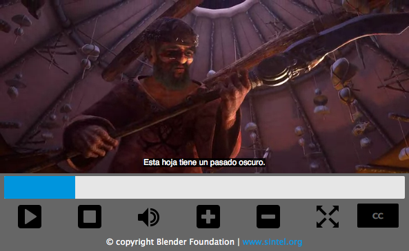 "Video player with stand controls such as play, stop, volume, and subtitles on and off. The video playing shows a scene of a man holding a spear-like weapon, and a subtitle reads ""Esta hoja tiene pasado oscuro."""