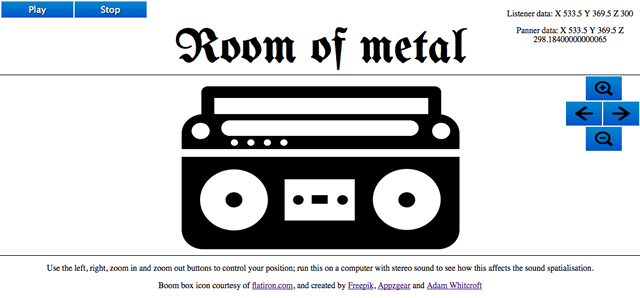 a minimal UI with a portable stereo in the center of it, and buttons marked play, stop, left arrow, right arrow, zoom in and zoom out. It says Room of Metal at the top.