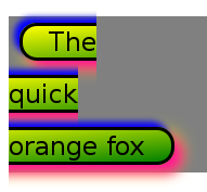 A screenshot of the rendering of an inline element styled with box-decoration-break:slice and styles given in the example.