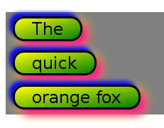 A screenshot of the rendering of an inline element styled with box-decoration-break:clone and styles given in the example