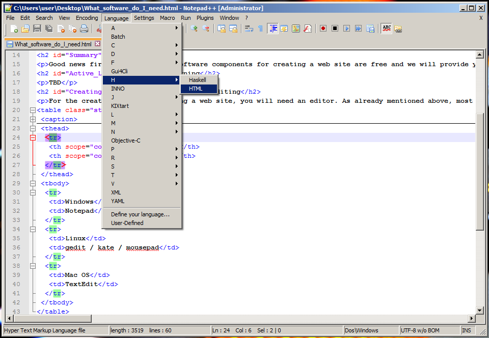 Screenshot of Notepad++.