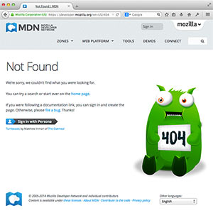 The MDN 404 page as an example of such error page