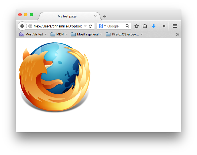 A screenshot of our basic website showing just the firefox logo - a flaming fox wrapping the world