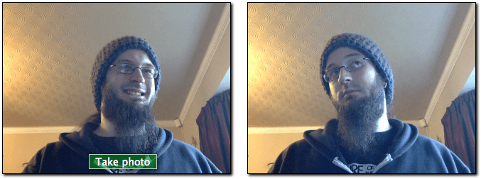 WebRTC-based image capture app — on the left we have a video stream taken from a webcam and a take photo button, on the right we have the still image output from taking the photo