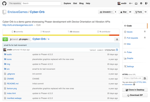 Screenshot of the GitHub repository with the Cyber Orb game code, listing the folders and the files in the main structure.