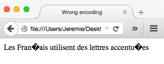 [Screenshot showing the browser displaying ''Les Fran?ais utilisent des lettres accentu?es'']