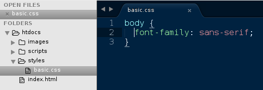 Example of a custom basic.css file