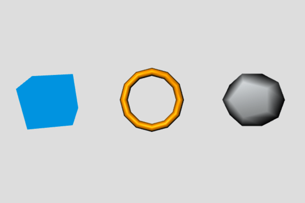 Shapes: blue cube, dark yellow torus and dark gray dodecahedron on a gray background rendered with Three.js.