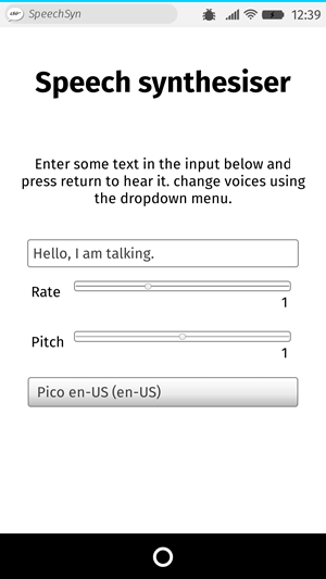 UI of an app called speak easy synthesis. It has an input field in which to input text to be synthesised, slider controls to change the rate and pitch of the speech, and a drop down menu to choose between different voices.