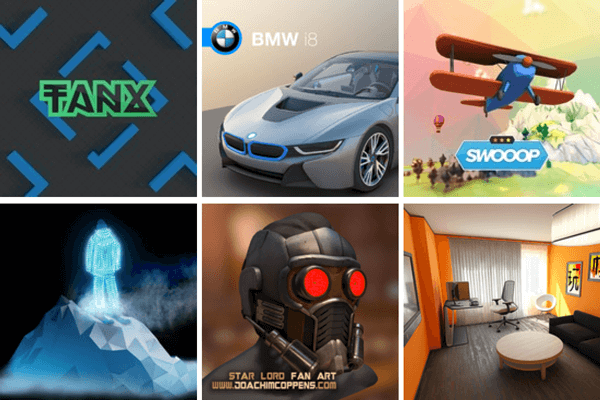 A list of PlayCanvas demos: Tanx, Swooop, Star Lord, BMW i8.