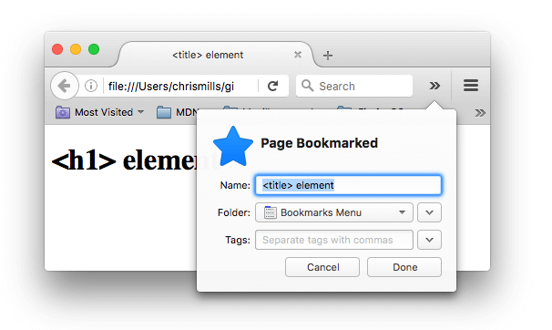 A webpage being bookmarked in firefox; the bookmark name has been automatically filled in with the contents of the <title> element