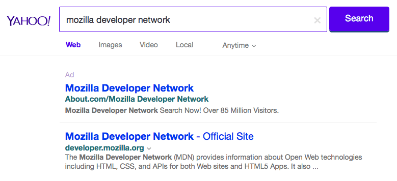 "A Yahoo search result for ""Mozilla Developer Network"""