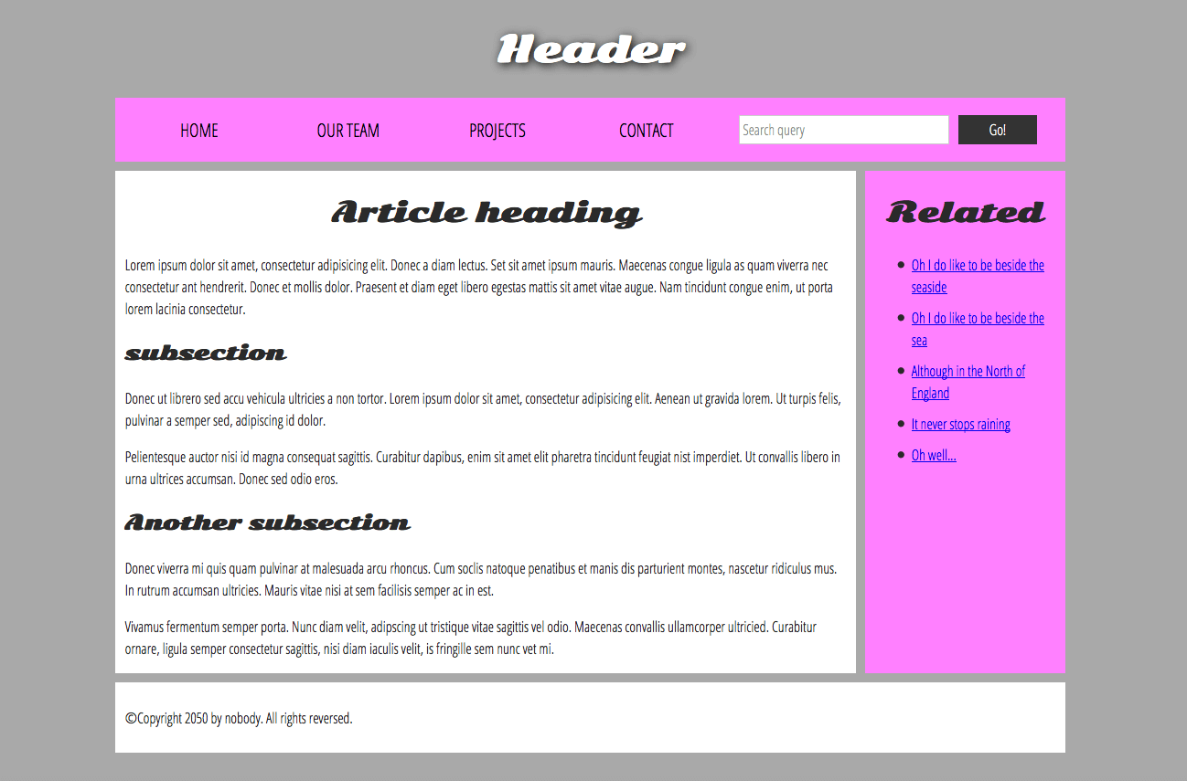 a simple website structure example featuring a main heading, navigation menu, main content, side bar, and footer.