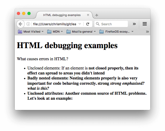 A simple HTML document with a title of HTML debugging examples, and some information about common HTML errors, such as unclosed elements, badly nested elements, and unclosed attributes.