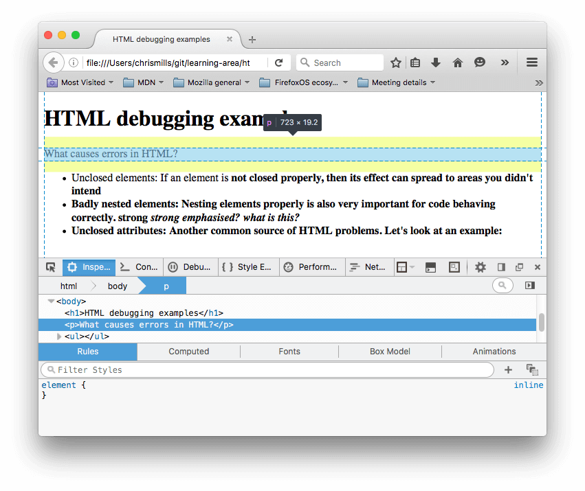 "The HTML inspector in Firefox, with our example's paragraph highlighted, showing the text ""What causes errors in HTML?"" Here you can see that the paragraph element has been closed by the browser."
