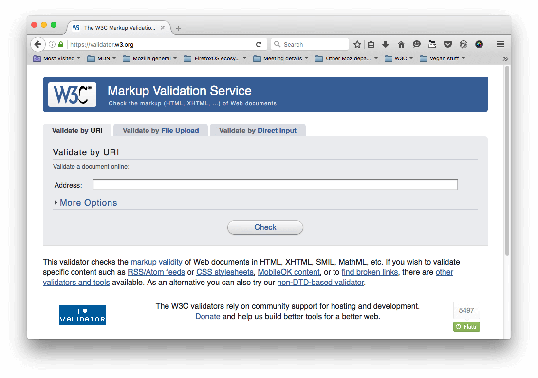 The HTML validator homepage