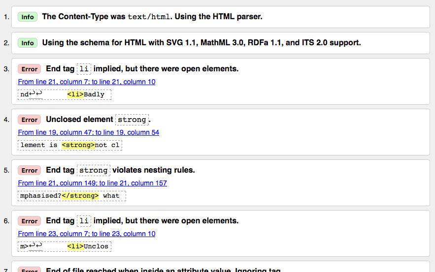 A list of of HTML validation results from the W3C markup validation service