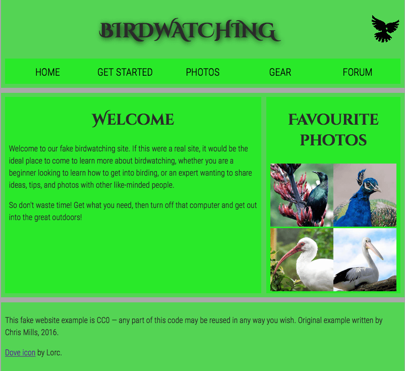 "The finished example for the assessment; a simple webpage about birdwatching, including a heading of ""Birdwatching"", bird photos, and a welcome message"