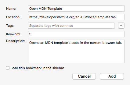 The bookmark editor box showing how a search keyword to open templates looks.