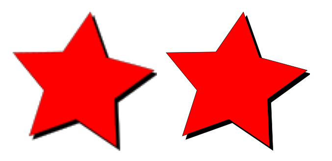 Two star images zoomed in. The raster one on the left starts to look pixellated, whereas the vector one still looks crisp.