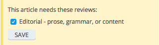 Screenshot of the editorial review request sidebar box