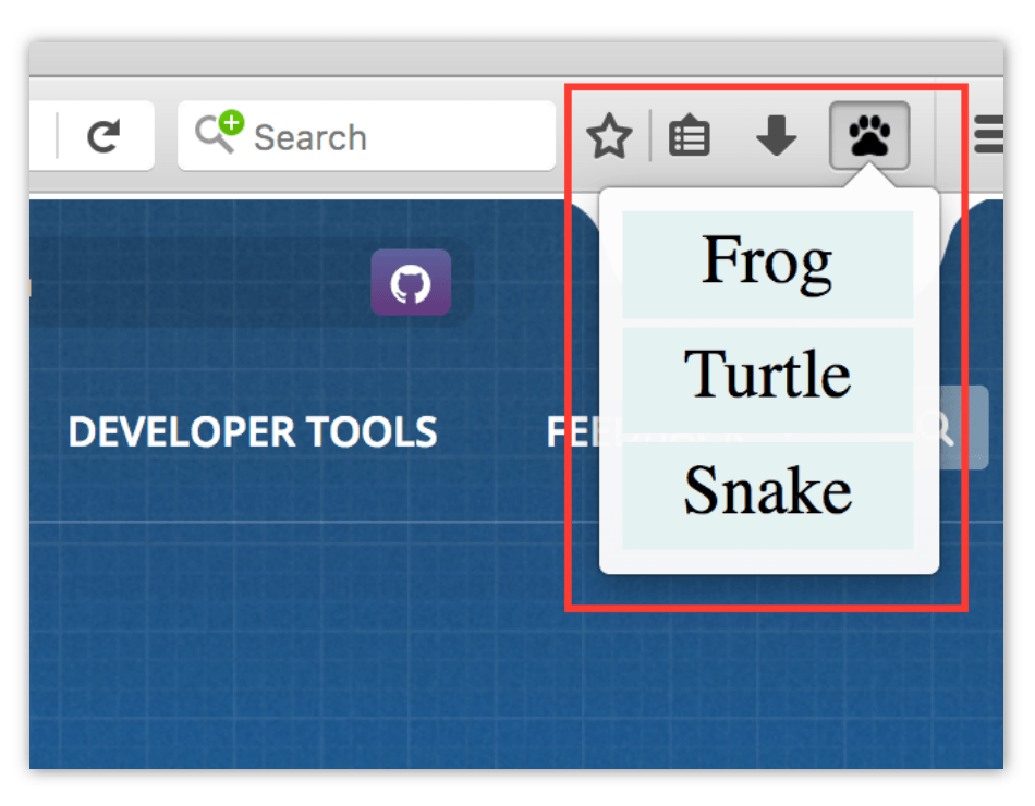 Example of a WebExtension toolbar button with a popup