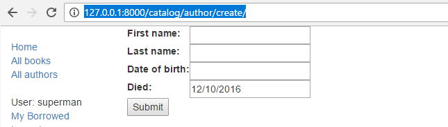 Form Example: Create Author