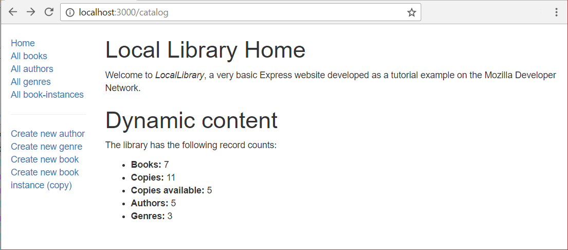 Home page - Express Local Library site