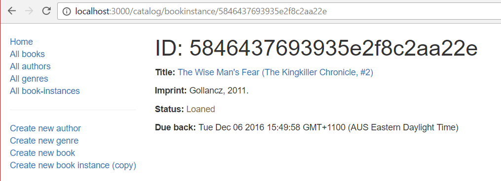 BookInstance Detail Page - Express Local Library site