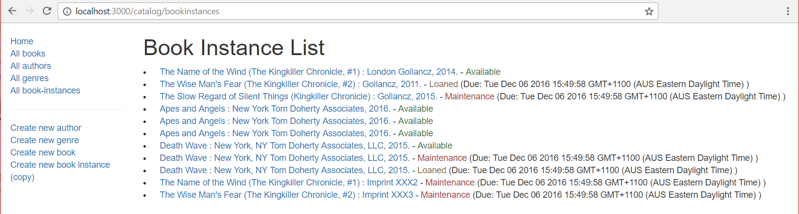 BookInstance List Page - Express Local Library site