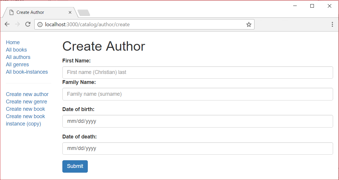 Author Create Page - Express Local Library site