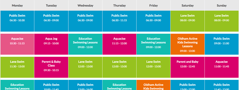 A swimming timetable showing a sample data table