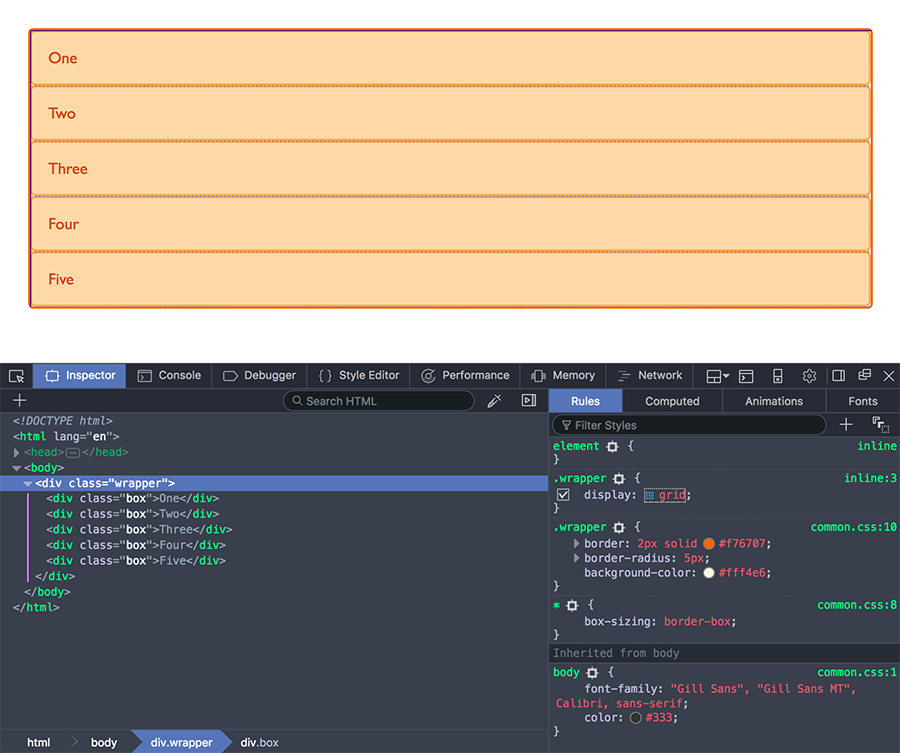 Using the Grid Highlighter in DevTools to view a grid