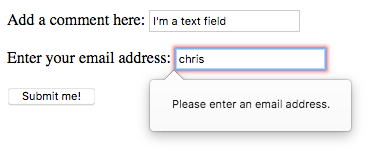 An invalid email input showing the message Please enter an email address.