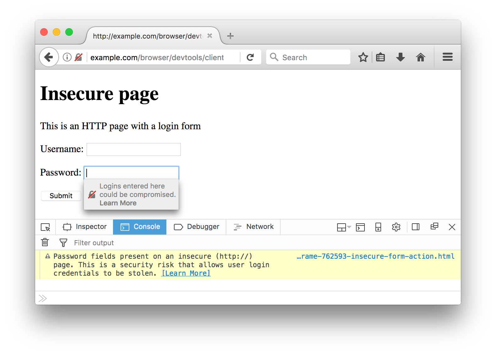 Insecure login form shown with the Web Console and contextual warning on the password field.