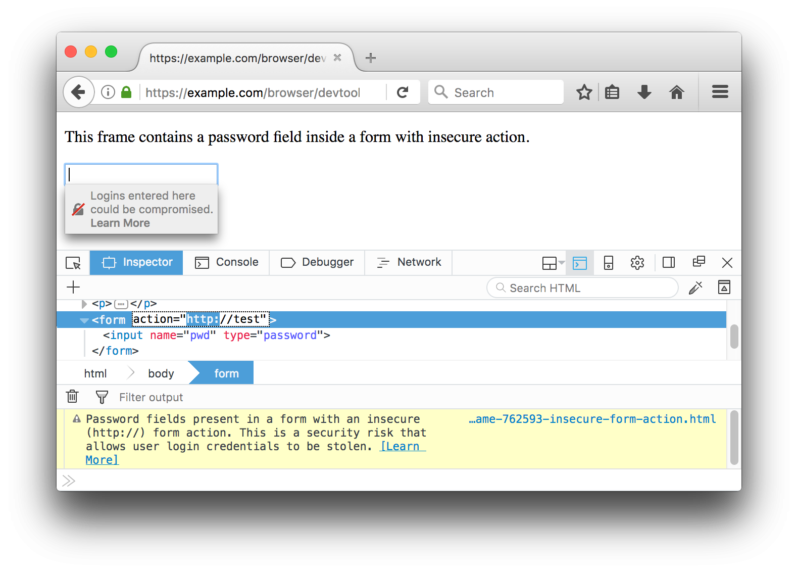 Insecure login form action shown with the Web Console and contextual warning on the password field.