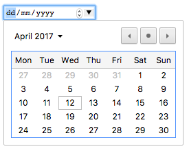 "A textbox containing ""dd/mm/yyyy"", an increment/decrement button combo, and a downward arrow that opens into a calendar control."