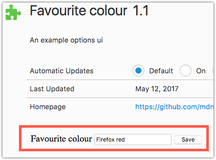 Example showing the options page content added in the favorite colors example.