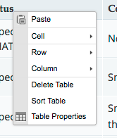 Screenshot of the Table context menu