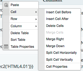Screenshot of the Table context menu's Cell submenu