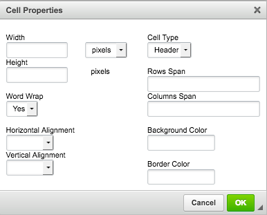 Screenshot of the Cell Properties dialog box