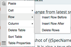 Screenshot of the Table context menu's Row submenu