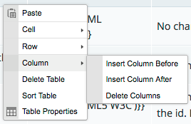 Screenshot of the Table context menu's Column submenu